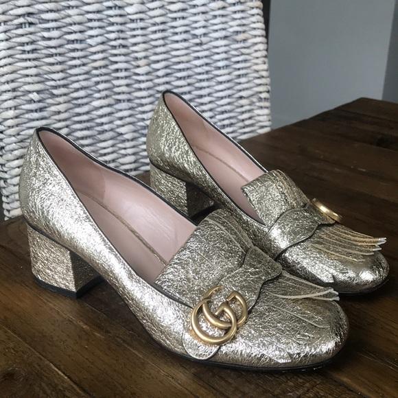 b79ecf6f5 Gucci Shoes | Marmont Gold Lame Mid Heel Metallic | Poshmark